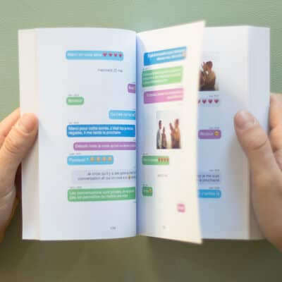 Exemple d'une conversation Messenger, WhatsApp, Instagram ou SMS imprimée dans un livre - MonLivreSMS - 3
